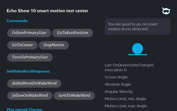 Echo Show 10, Smart Motion Test Center