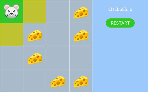 A sample to move the character in the grid by touch
