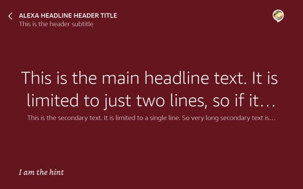 AlexaHeadline example